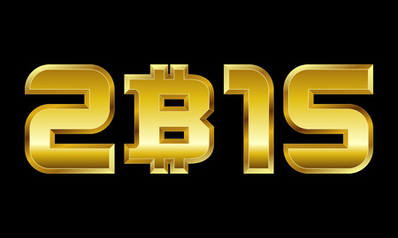 currency symbol: year 2015 - golden numbers with bitcoin currency symbol