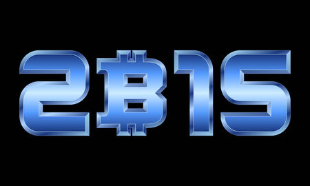 year 2015 - blue metal numbers with bitcoin currency symbol Illustration