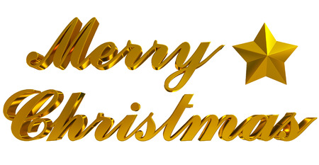 Merry Christmas greeting - golden 3d letters and star on white