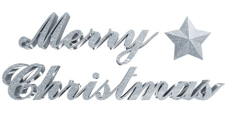 Merry Christmas greeting - sparkled 3d letters and star on white