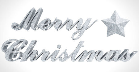 sparkled: Merry Christmas greeting - sparkled 3d letters and star on white