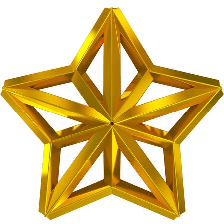 struts: Christmas Star golden 3d isolated on white