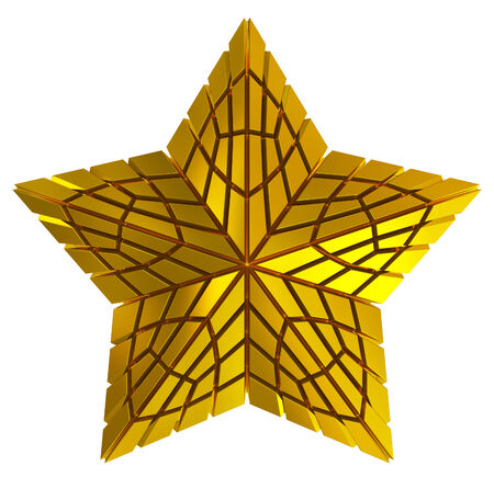 rabbet: Christmas Star golden 3d isolated on white