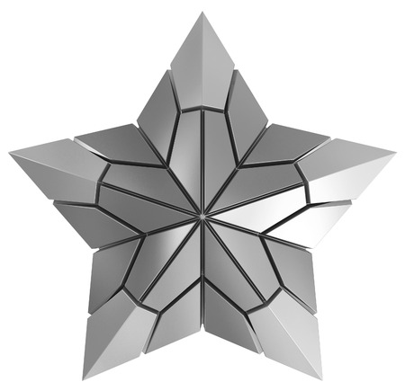 rabbet: Christmas Star silver 3d isolated on white Stock Photo