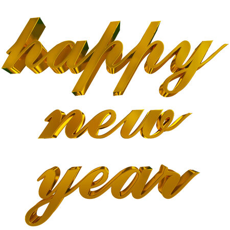 happy new year greeting - golden 3d letters on white photo