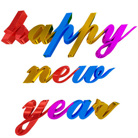 happy new year greeting - colorful 3d letters on white