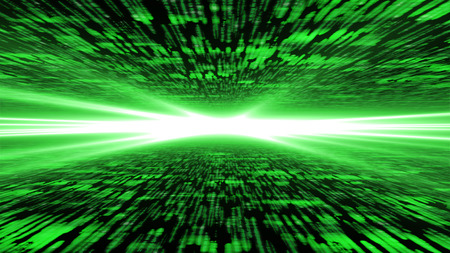energized: matrix 3d flying through energized cyberspace, strong light on the horizon background Stock Photo