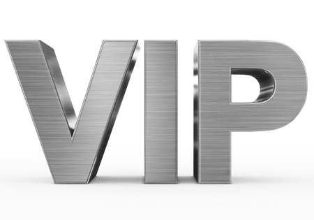 VIP 금속 - 흰색, 전면보기에 고립 된 3d 편지