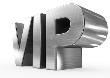 privileged: VIP metal - 3d letters isolated on white, side view