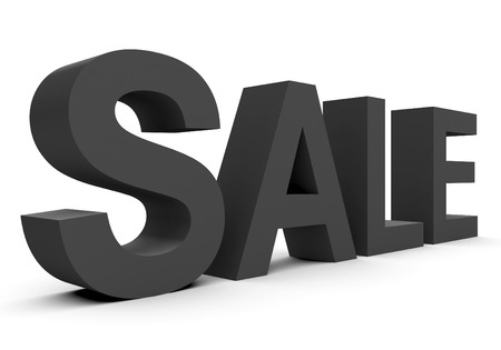 arial: SALE - black 3d letters isolated on white, side view