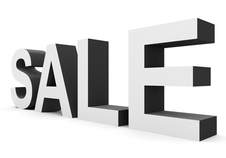 SALE - black-white 3d letters isolated on white, side view