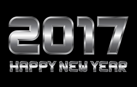 happy new year 2017 - rectangular beveled metal letters, vector, blurry reflections