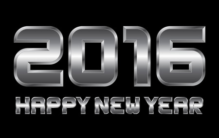 happy new year 2016 - rectangular beveled metal font, vector, blurry reflections
