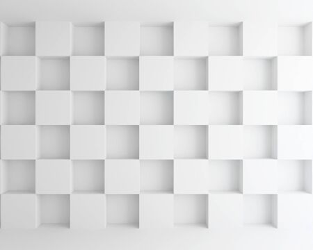 interior white cubic wall abstract background - 3d rendering