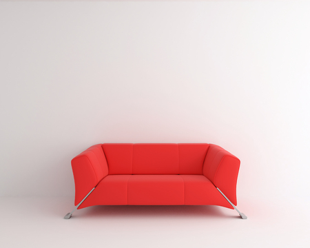 interior abstract, red sofa in white room - 3d rendering