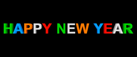 happy new year colorful 3d letters isolated on black