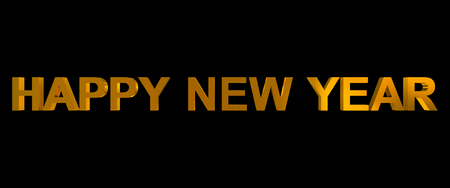 happy new year golden 3d letters isolated on black Stock Photo