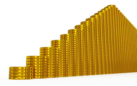 golden coins stairs on white Stock Photo