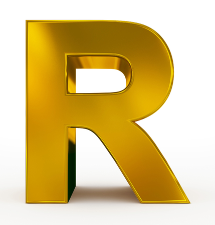 arial view: letter R 3d golden isolated on white - 3d rendering