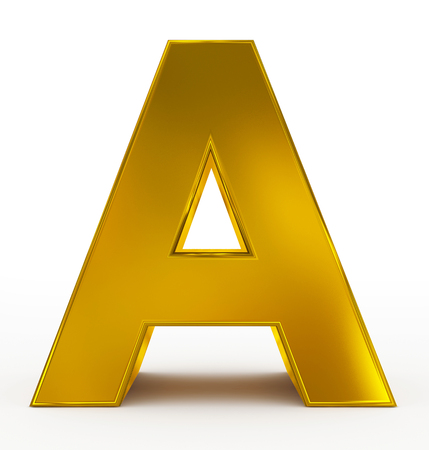 arial view: letter A 3d golden isolated on white - 3d rendering