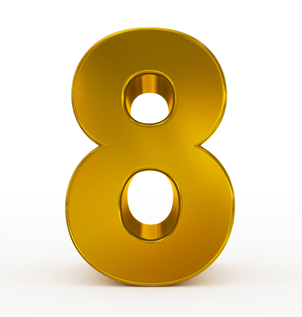 number 8 3d golden isolated on white - 3d rendering