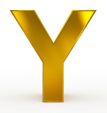 arial view: letter Y 3d golden isolated on white - 3d rendering Stock Photo