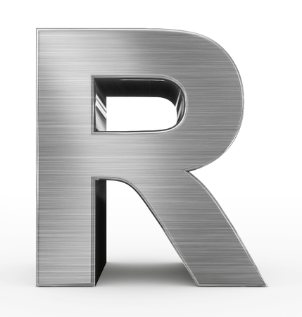 letter R 3d metal isolated on white - 3d rendering