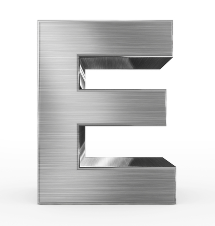letter E 3d metal isolated on white - 3d rendering