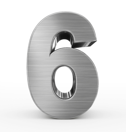 brushed aluminium: number 6 3d metal isolated on white - 3d rendering