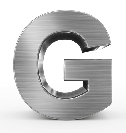 letter G 3d metal isolated on white - 3d rendering Stock Photo