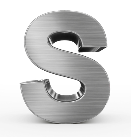 brushed aluminium: letter S 3d metal isolated on white - 3d rendering