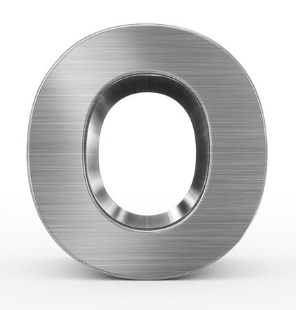 letter O 3d metal isolated on white - 3d rendering