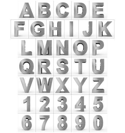Lettres et chiffres 3d métal isolé sur blanc - rendu 3d Banque d'images - 77450525