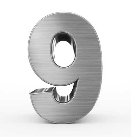 brushed aluminium: number 9 3d metal isolated on white - 3d rendering Stock Photo