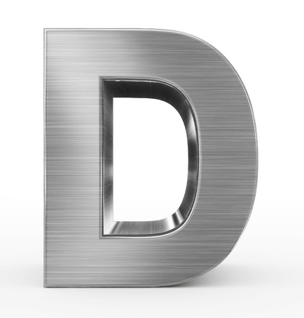 letter D 3d metal isolated on white - 3d rendering