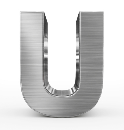 letter U 3d metal isolated on white - 3d rendering