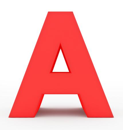 letter A 3d red isolated on white - 3d rendering
