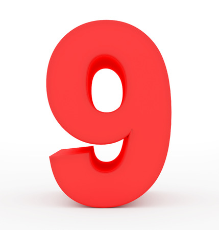 arial view: number 9 3d red isolated on white - 3d rendering