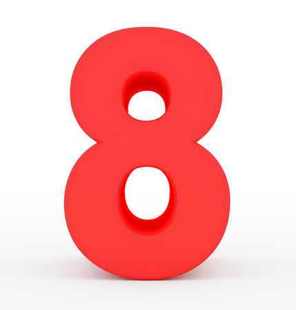 arial view: number 8 3d red isolated on white - 3d rendering