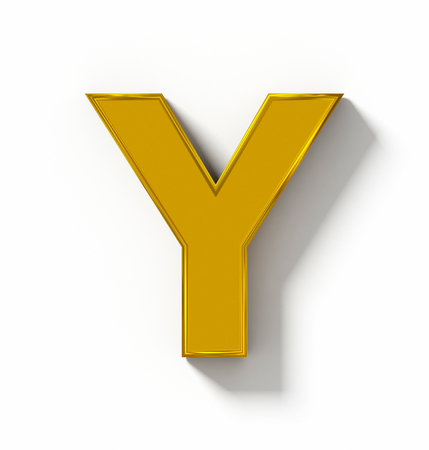 arial view: letter Y 3D golden isolated on white with shadow - orthogonal projection - 3d rendering