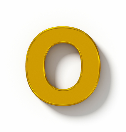 letter O 3D golden isolated on white with shadow - orthogonal projection - 3d rendering