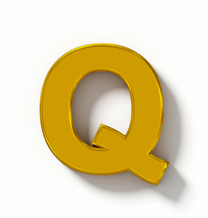 arial view: letter Q 3D golden isolated on white with shadow - orthogonal projection - 3d rendering