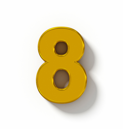 arial view: number 8 3D golden isolated on white with shadow - orthogonal projection - 3d rendering