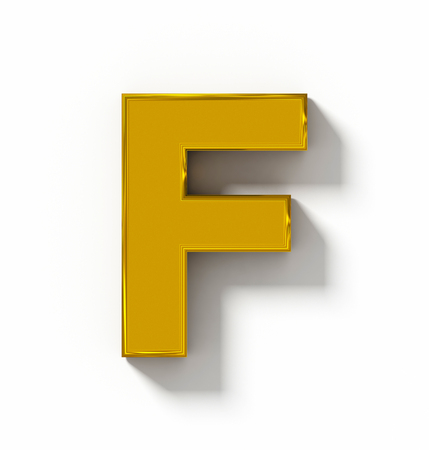 arial views: letter F 3D golden isolated on white with shadow - orthogonal projection - 3d rendering Stock Photo