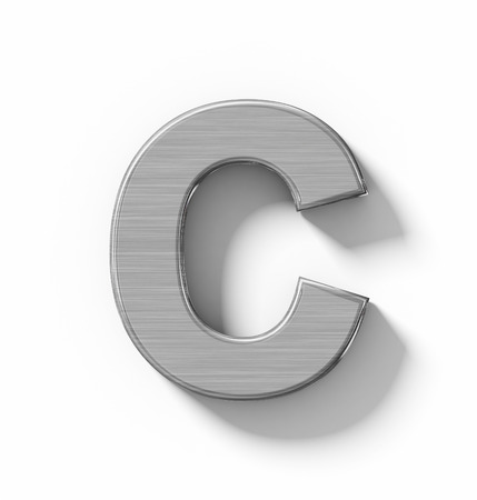 brushed aluminium: letter C 3D metal isolated on white with shadow - orthogonal projection - 3d rendering