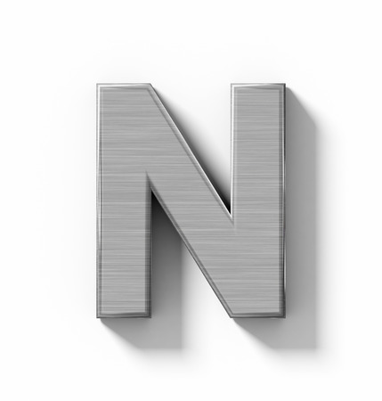 aluminium: letter N 3D metal isolated on white with shadow - orthogonal projection - 3d rendering Stock Photo