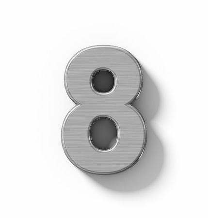 brushed aluminium: number 8 3D metal isolated on white with shadow - orthogonal projection - 3d rendering