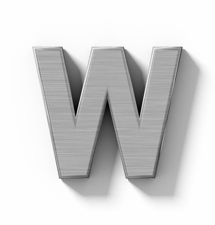 aluminum: letter W 3D metal isolated on white with shadow - orthogonal projection - 3d rendering Stock Photo