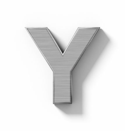 arial views: letter Y 3D metal isolated on white with shadow - orthogonal projection - 3d rendering Stock Photo