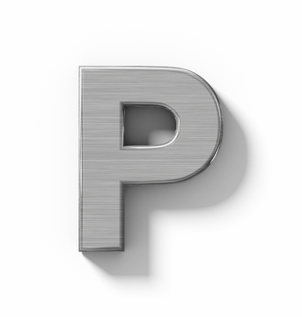 arial views: letter P 3D metal isolated on white with shadow - orthogonal projection - 3d rendering